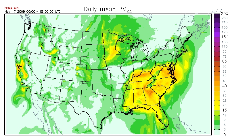 Graphic depiction of surface PM2.5 concentration November 17, 2008