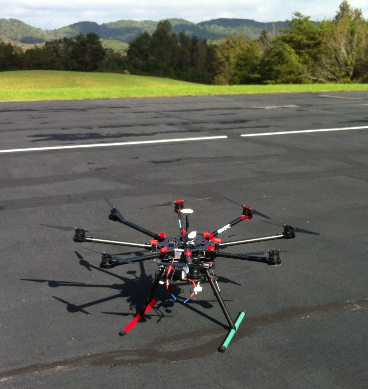 DJI S-1000 multi-rotor helicopter fitted with sensors and cameras