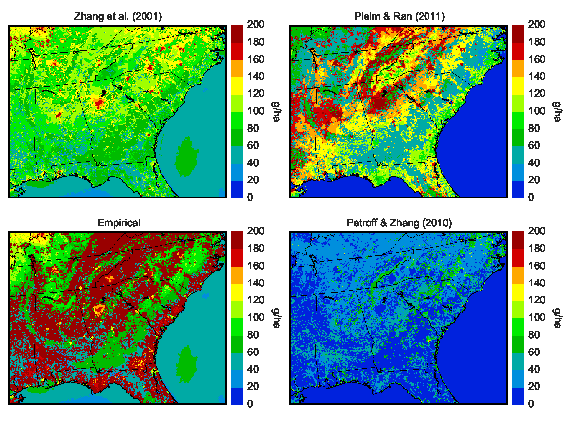 Graphics comparing simulated PM2.5 dry deposition over the Southeast