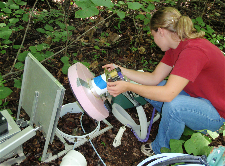 A student uses a soil respiration chamber to measure atmosphere-soil exchange