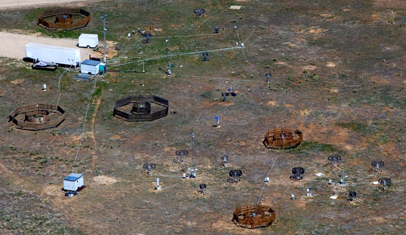 Aerial view of Marshall Precipitation Measurement Test Bed near Boulder, Colorado