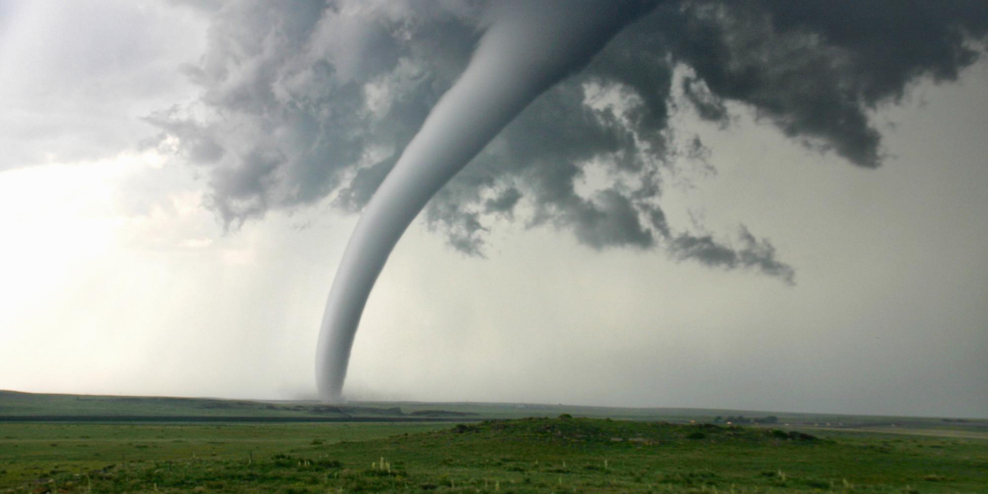 Graphic of tornado in open field