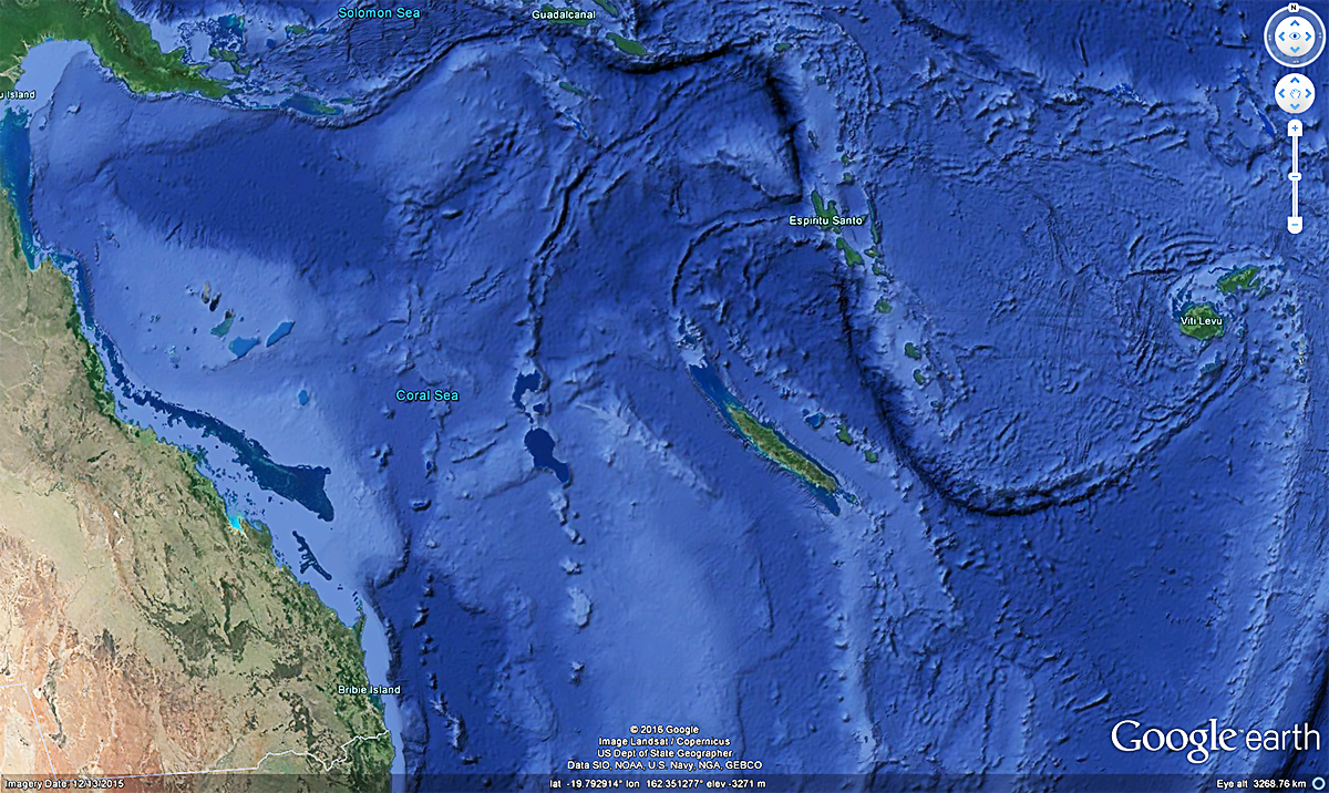 Google Earth image of area where TC Donna was on May 7, 2017