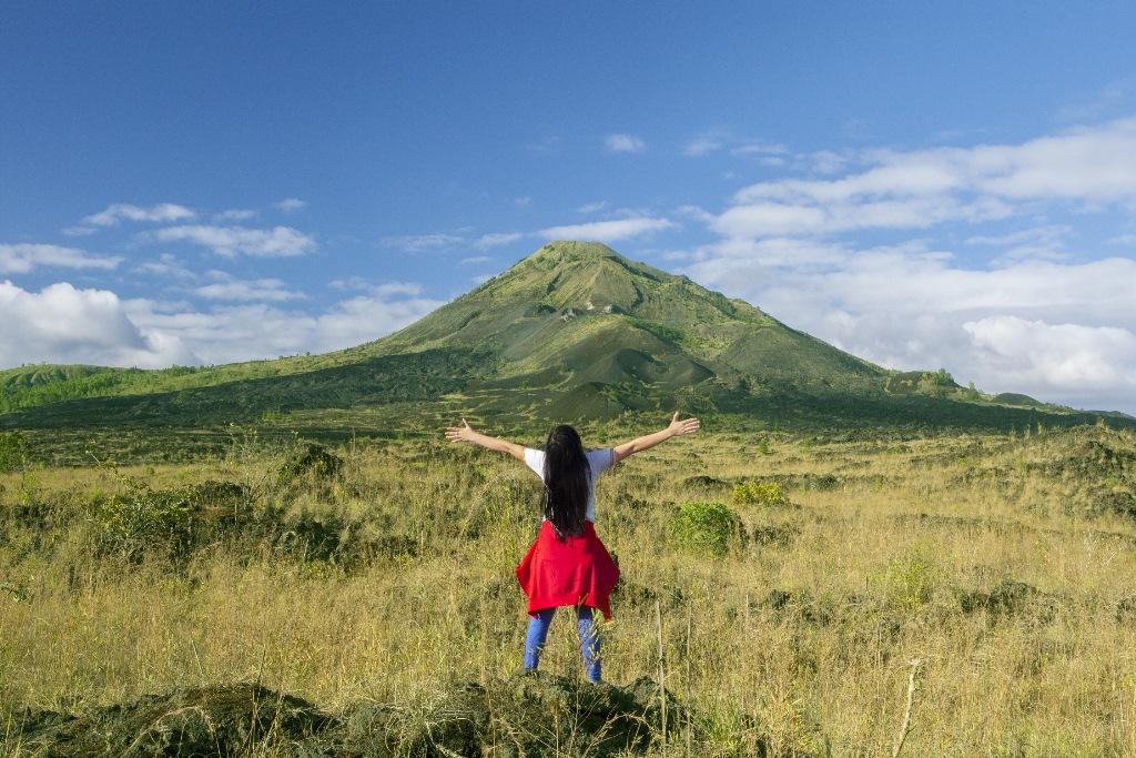 Woman enjoying mountain view