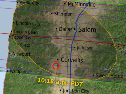 Map showing location of Corvallis, Oregon