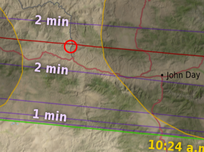Map showing location of John Day, Oregon