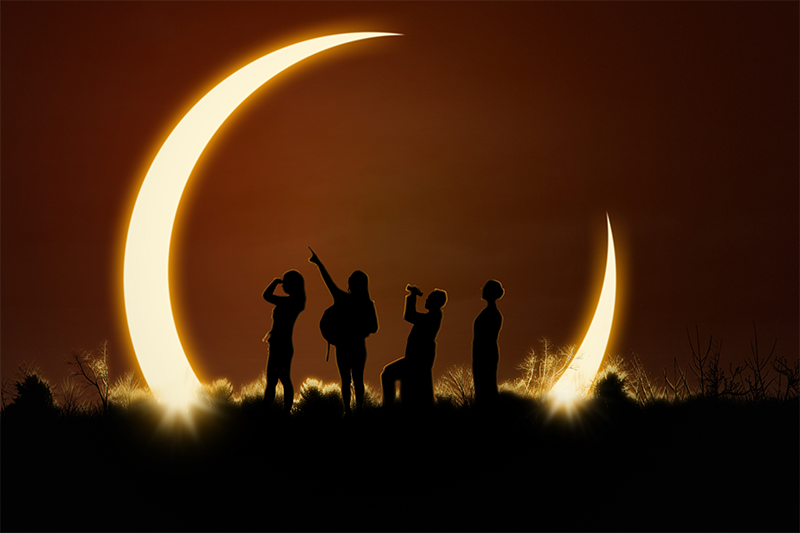 Image of people watching solar eclipse