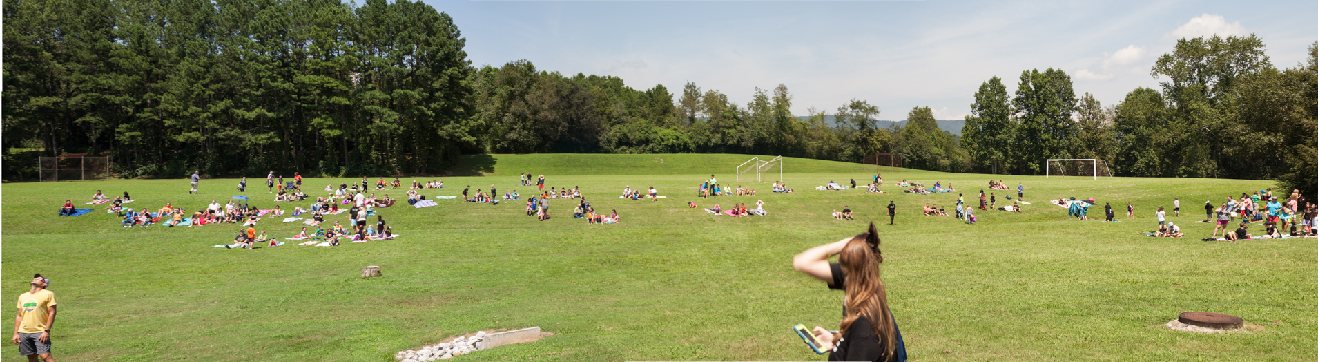 Photo of eclipse watchers at Roane State CC