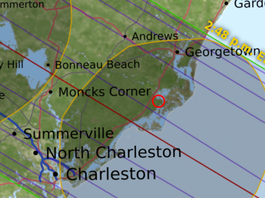 Map showing location of McClellanville, South Carolina