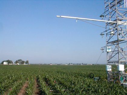 Flux Tower in soybean field in Bondville, Illinois