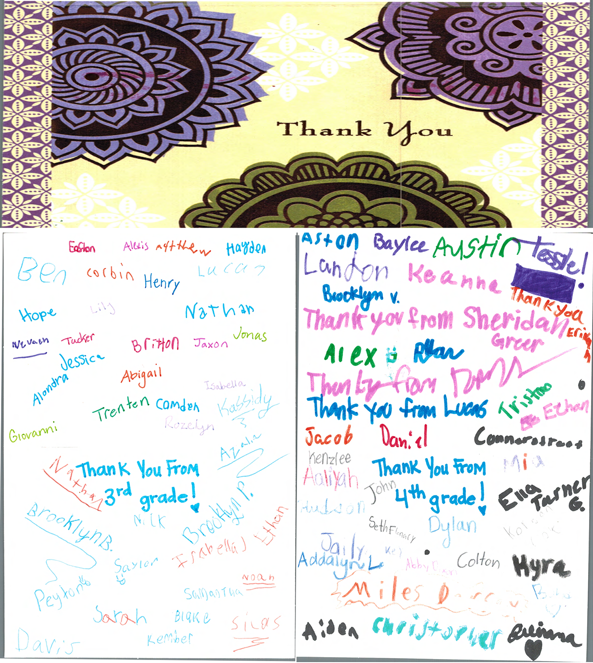 Thank you cards from Eaton Elementary School