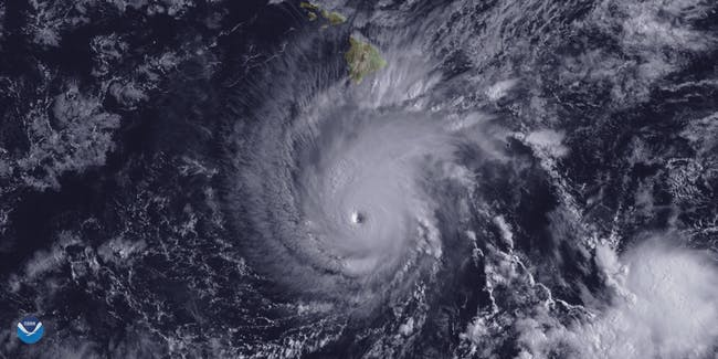 Satellite image of Hurricane approaching Hawaii