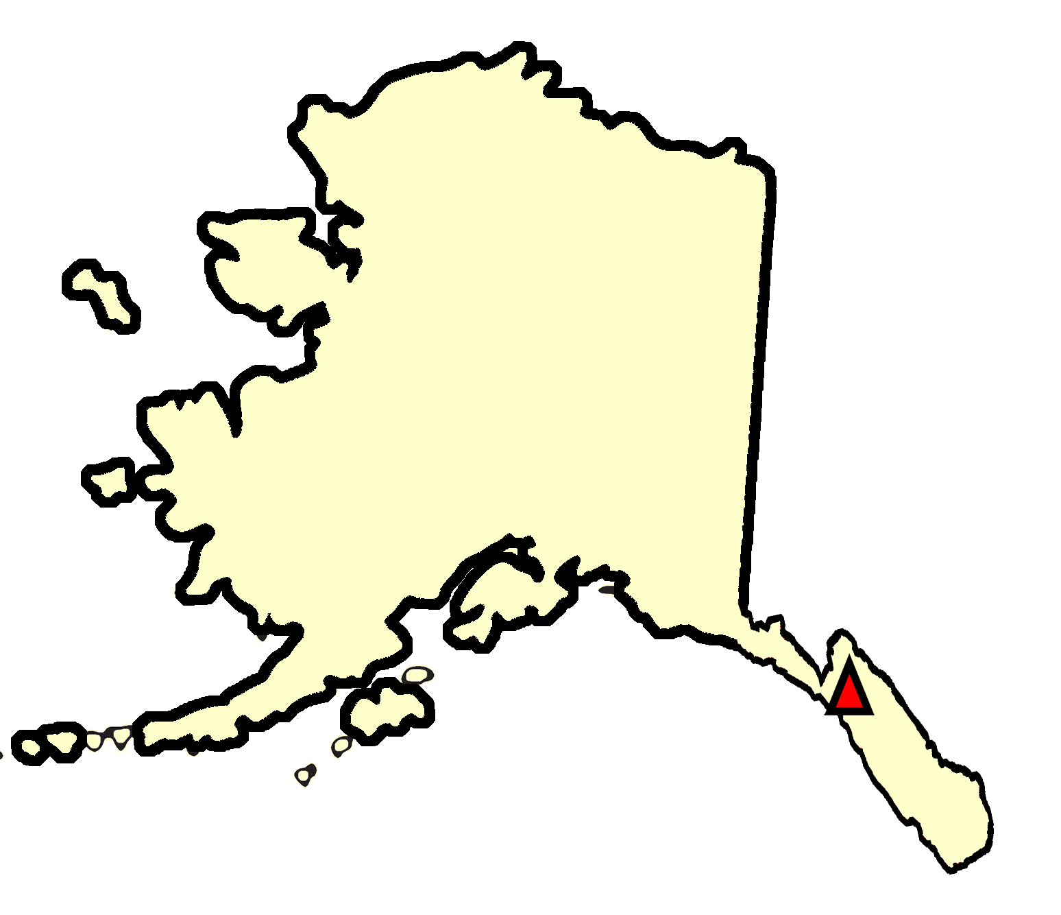 State map location for AK Gustavus