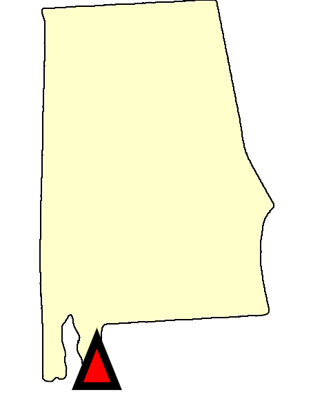 State map location for AL Fairhope
