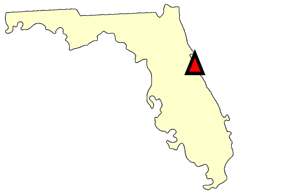 State map location for FL Titusville
