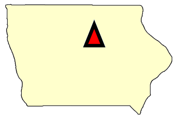 State map location for IA Des Moines