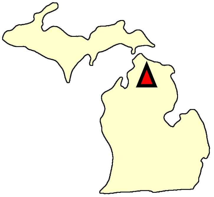 State map location for MI Gaylord