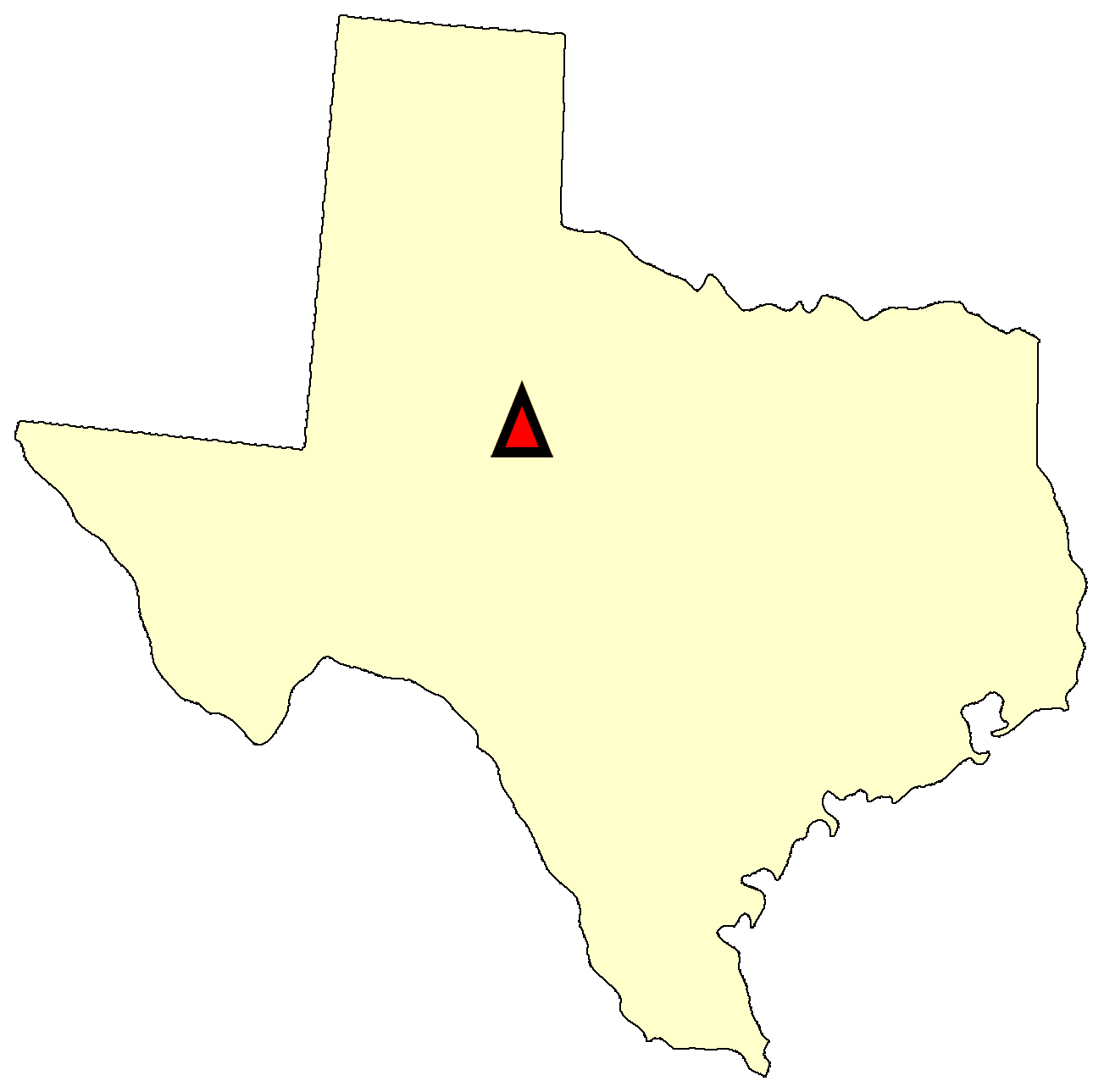 State map location for TX Bronte