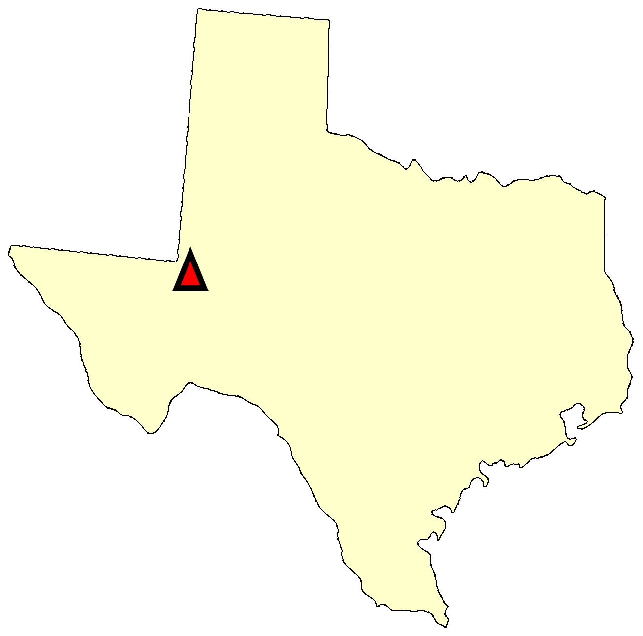 State map location for TX Monahans
