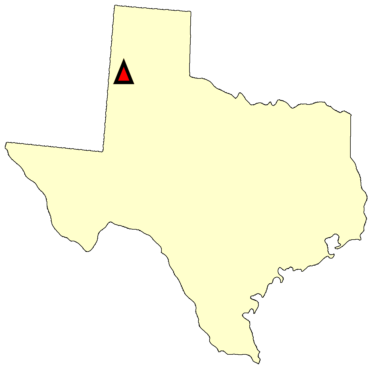 State map location for TX Muleshoe