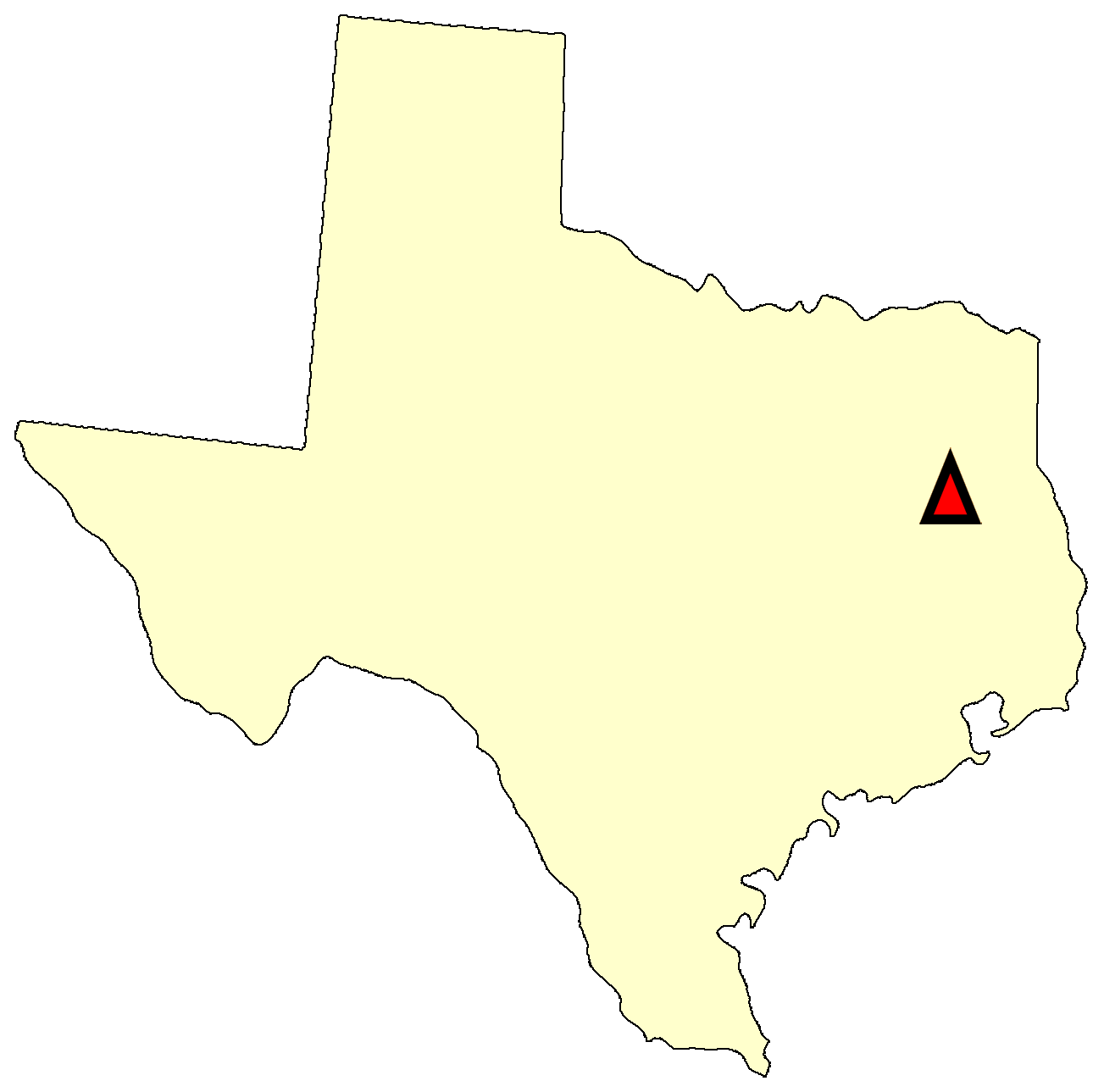 State map location for TX Palestine