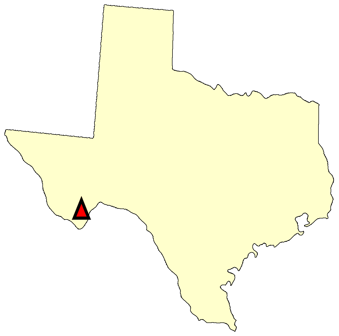 State map location for TX Panther Junction