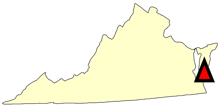 State map location for VA Cape Charles
