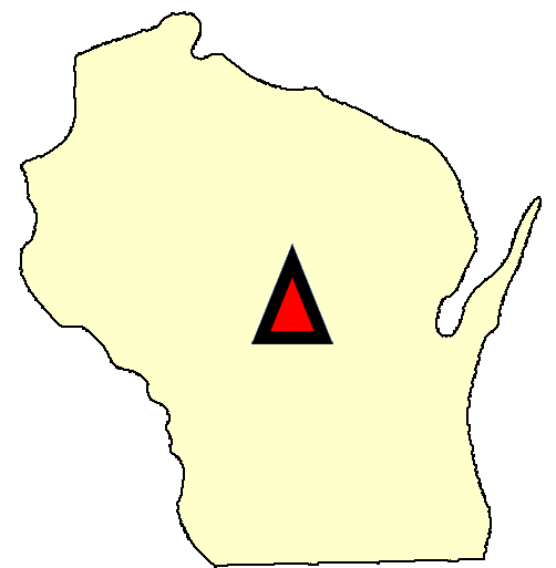 State map location for WI Necedah