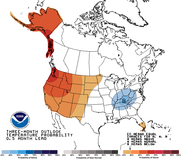 image of 3-month climate outlooks map