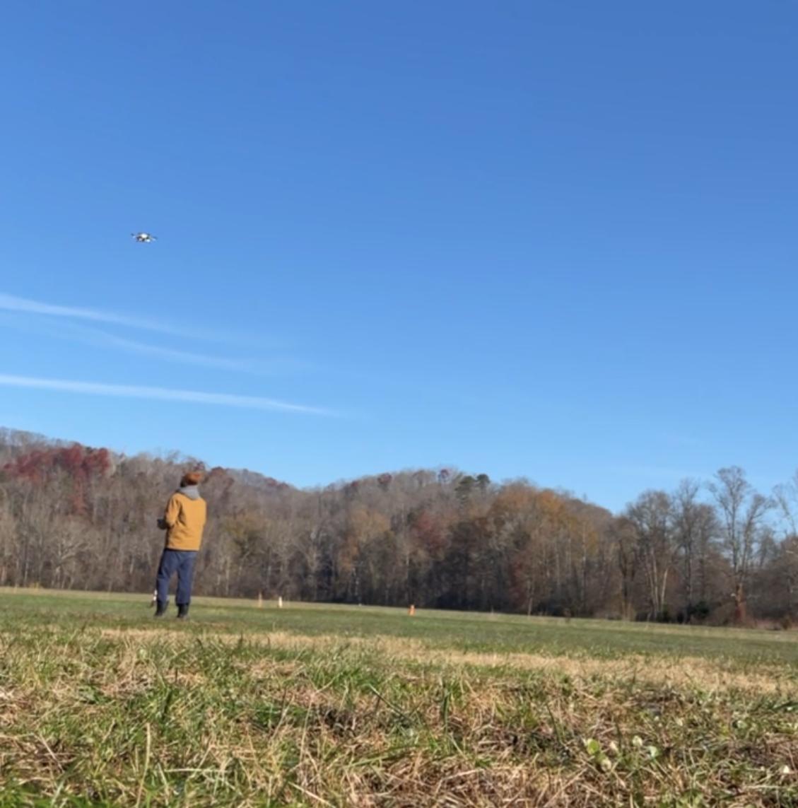 Travis piloting copter